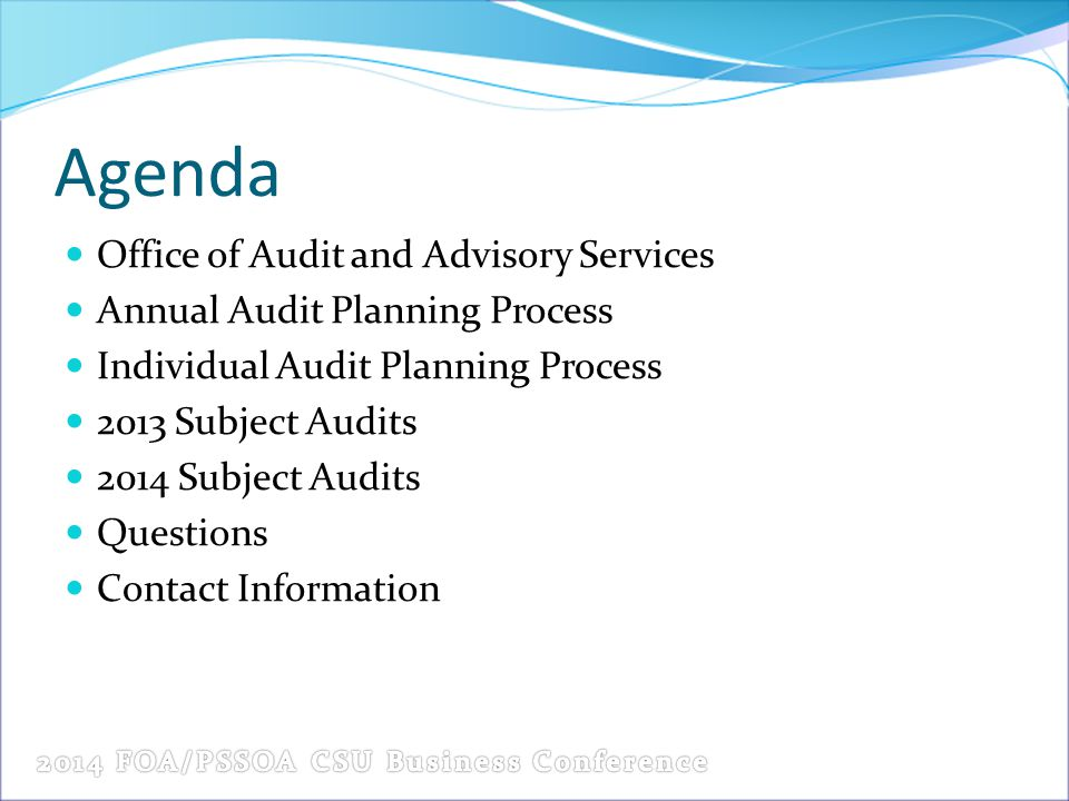 Agenda Office of Audit and Advisory Services