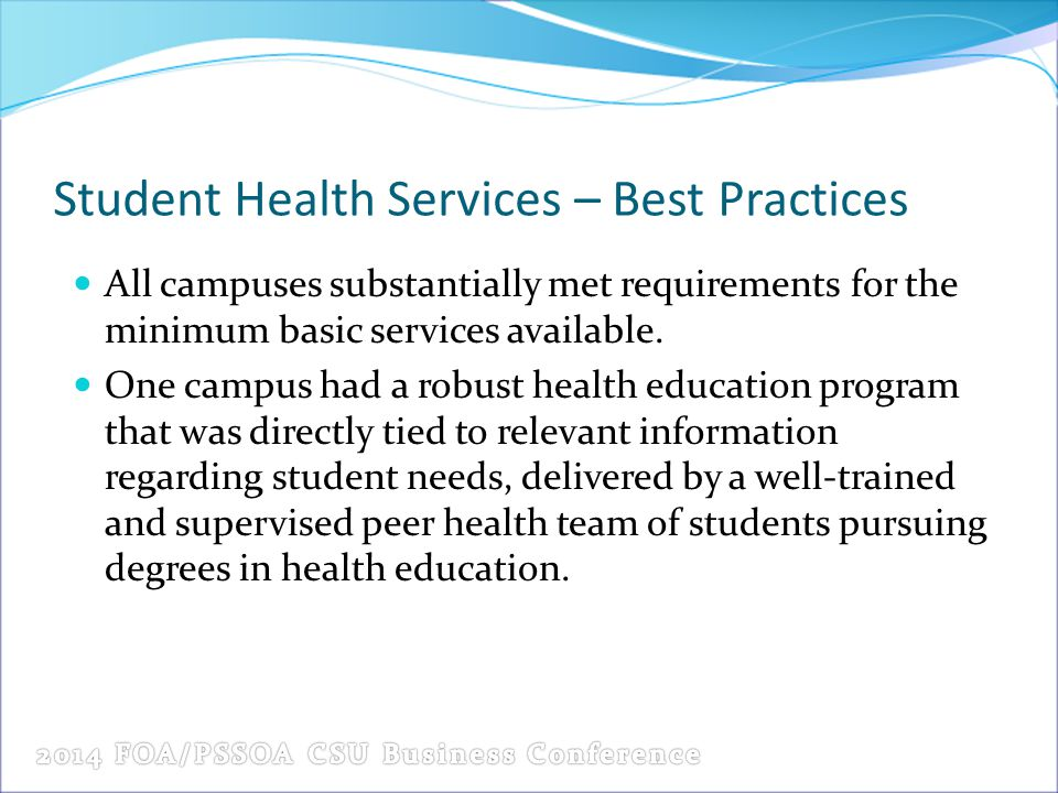 Student Health Services – Best Practices