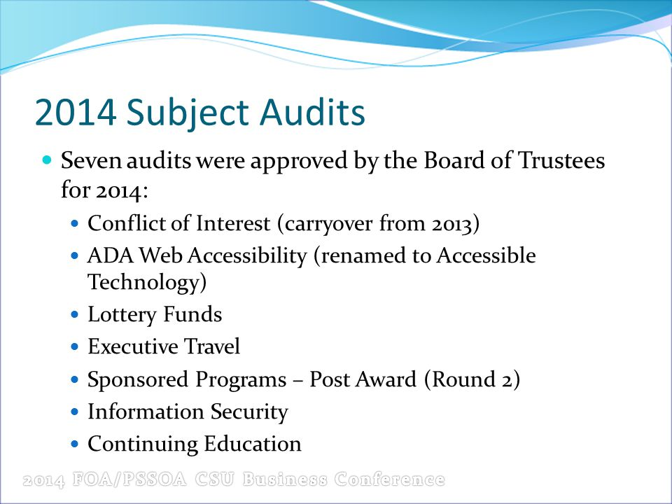 2014 Subject Audits Seven audits were approved by the Board of Trustees for 2014: Conflict of Interest (carryover from 2013)