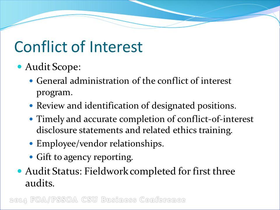 Conflict of Interest Audit Scope:
