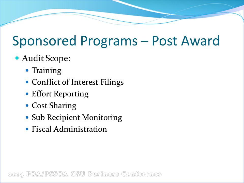 Sponsored Programs – Post Award