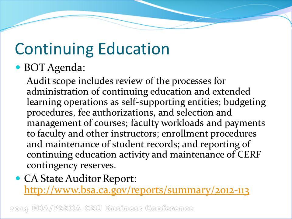 Continuing Education BOT Agenda: