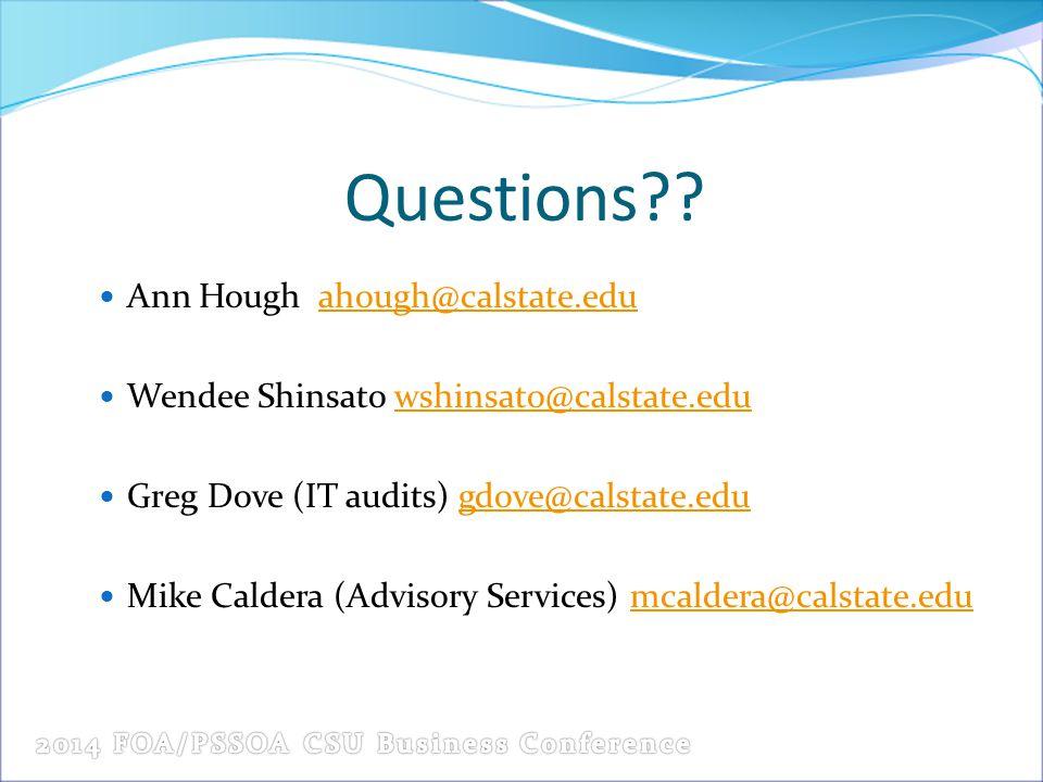 Questions Ann Hough ahough@calstate.edu