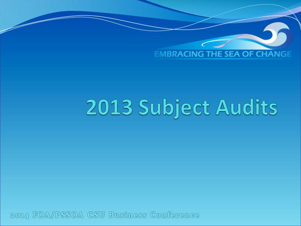 2013 Subject Audits