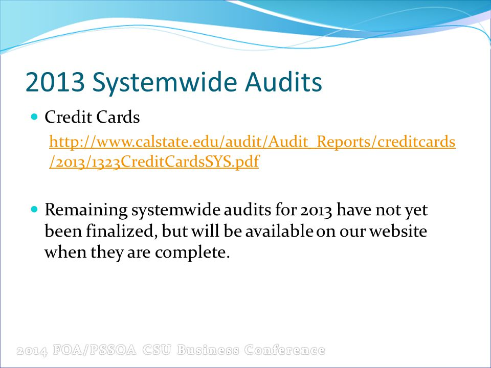 2013 Systemwide Audits Credit Cards