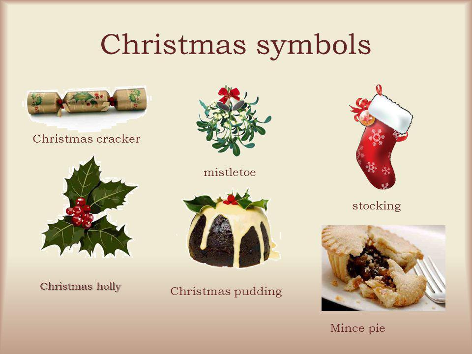 Christmas symbols Christmas cracker mistletoe stocking