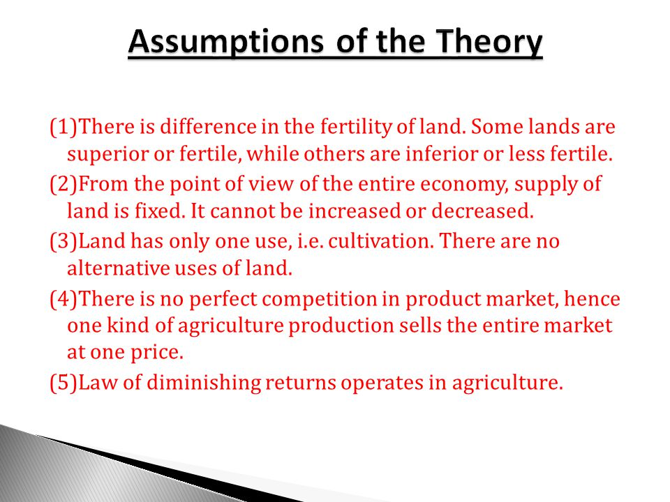 Assumptions of the Theory