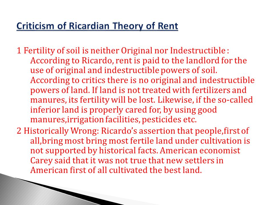 Criticism of Ricardian Theory of Rent