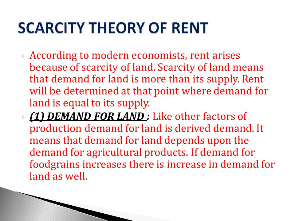 SCARCITY THEORY OF RENT