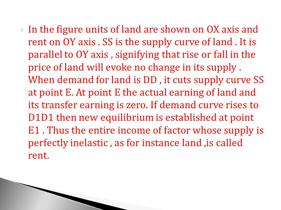 In the figure units of land are shown on OX axis and rent on OY axis