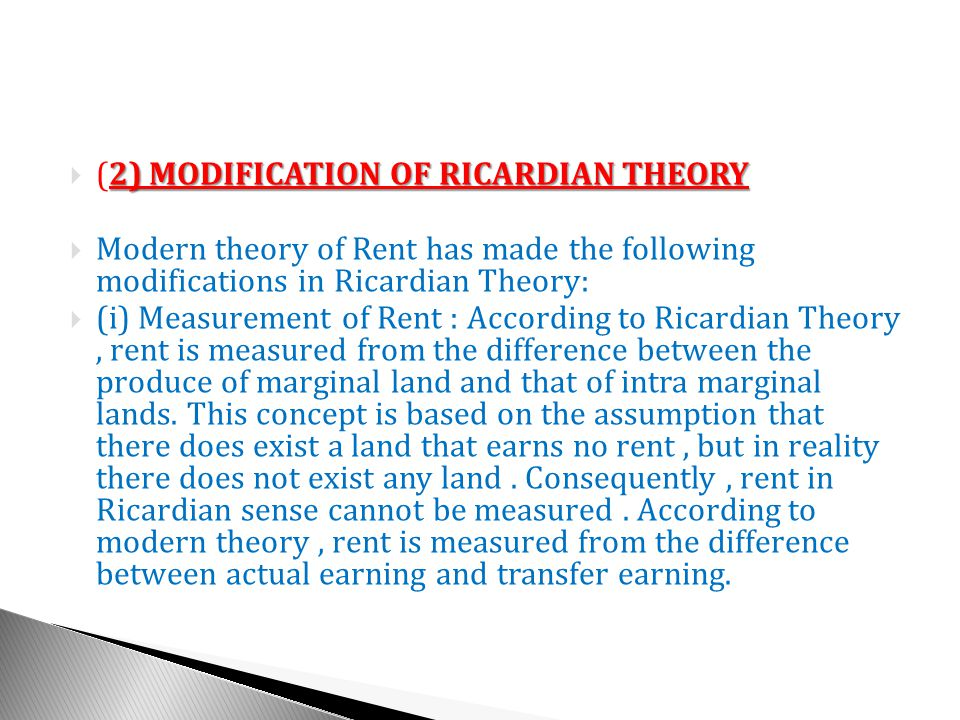 (2) MODIFICATION OF RICARDIAN THEORY