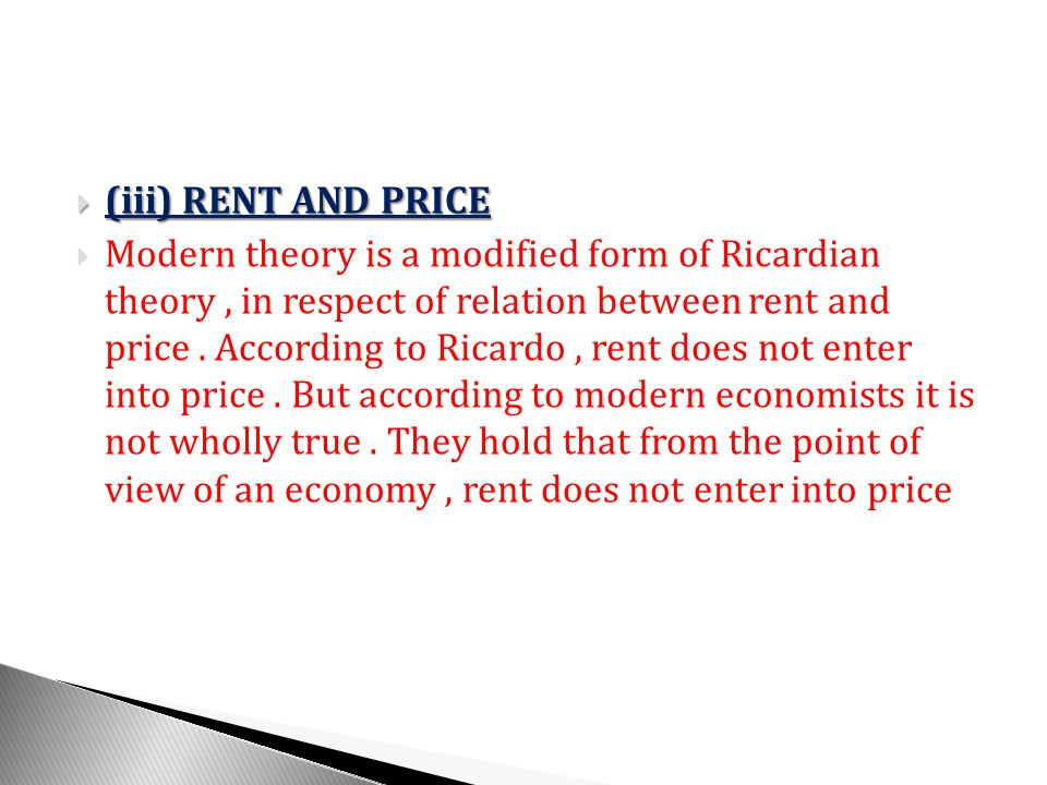 (iii) RENT AND PRICE