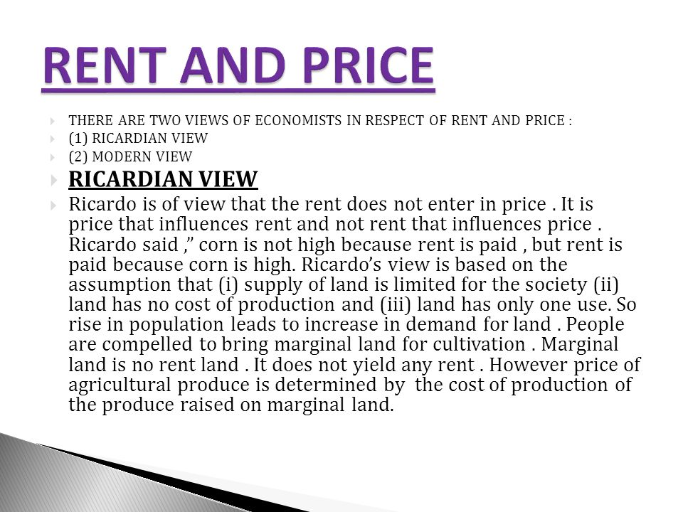 RENT AND PRICE RICARDIAN VIEW