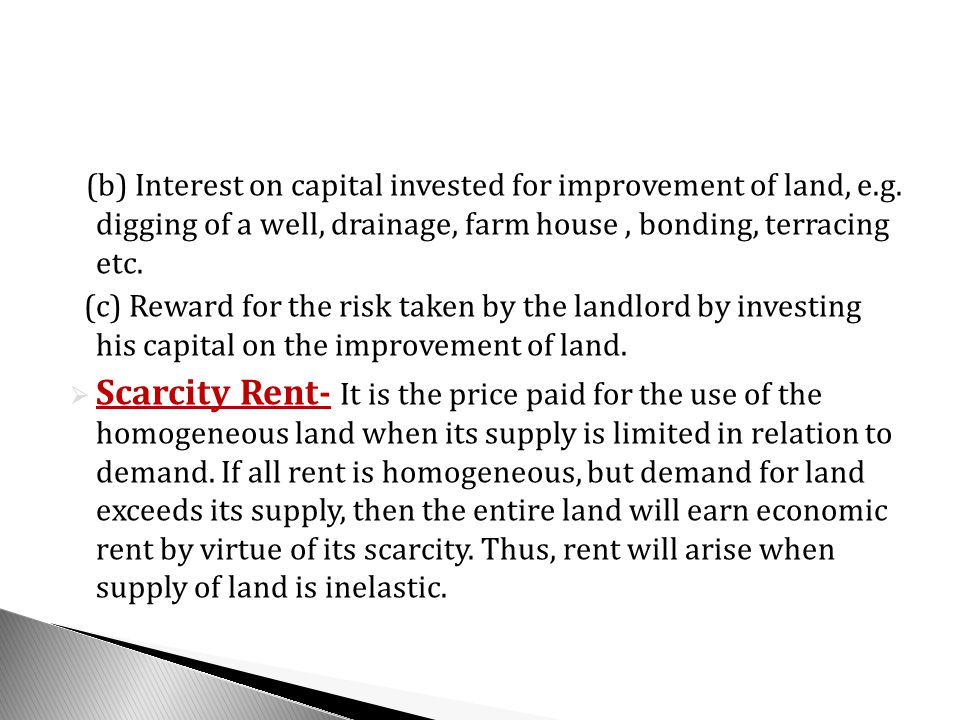 (b) Interest on capital invested for improvement of land, e. g