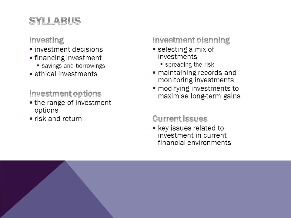 Syllabus Investing Investment options Investment planning