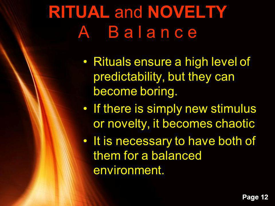 RITUAL and NOVELTY A B a l a n c e