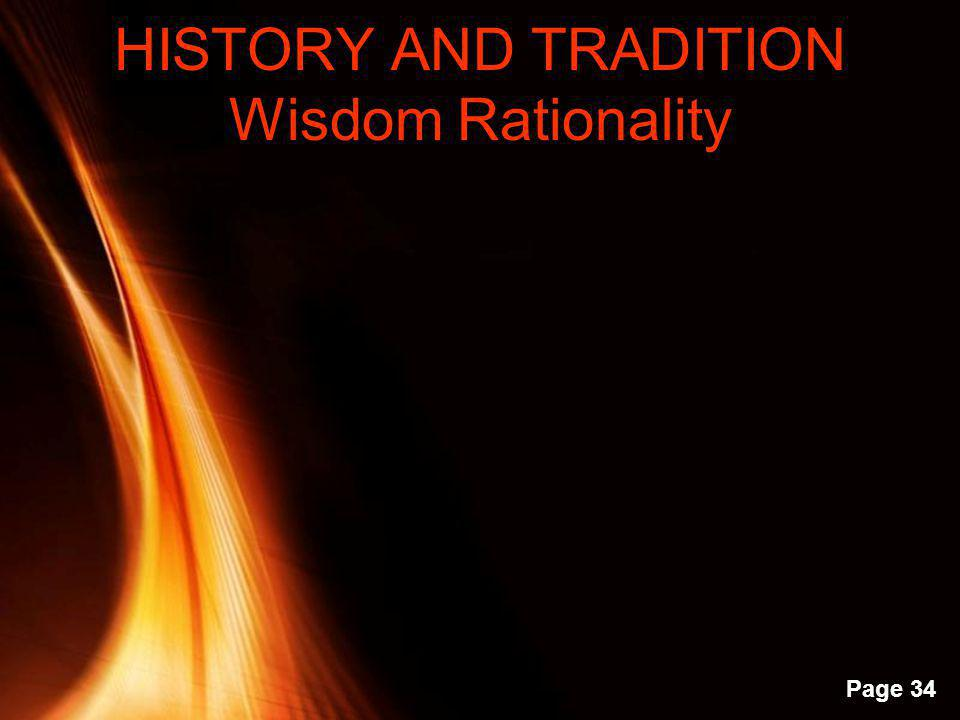 HISTORY AND TRADITION Wisdom Rationality