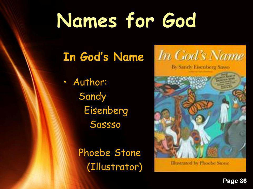 Names for God In God's Name Author: Sandy Eisenberg Sassso