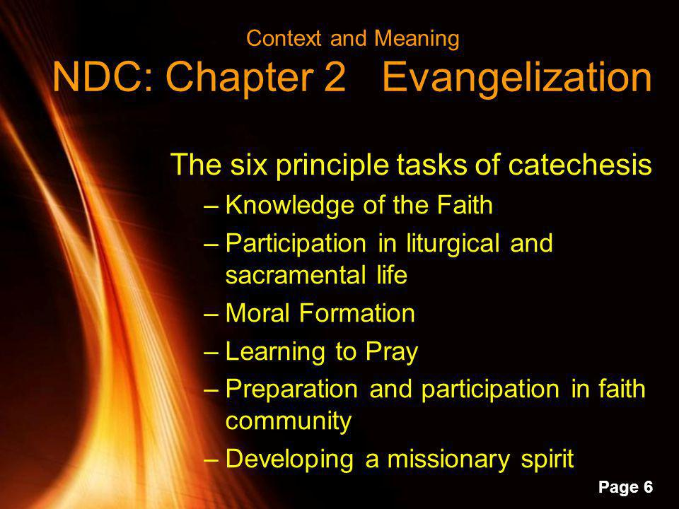 Context and Meaning NDC: Chapter 2 Evangelization