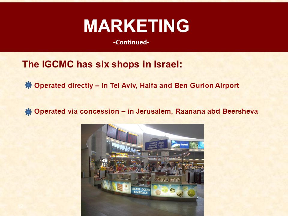 MARKETING The IGCMC has six shops in Israel: -Continued-