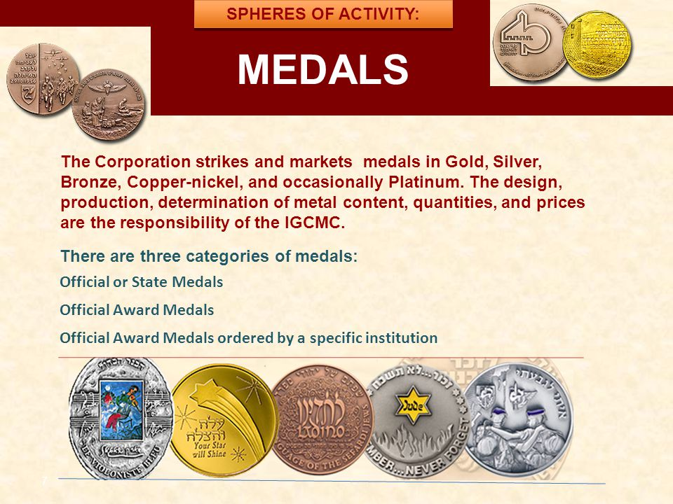 MEDALS למדליות ולמטבעות SPHERES OF ACTIVITY:
