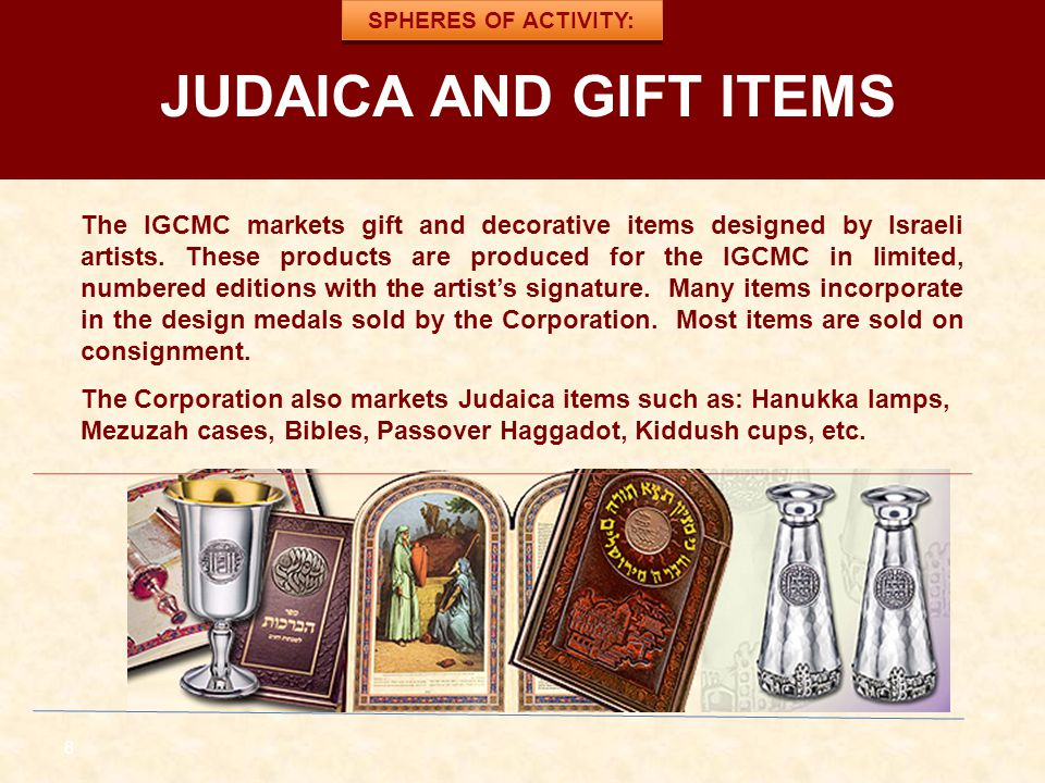 SPHERES OF ACTIVITY: JUDAICA AND GIFT ITEMS.