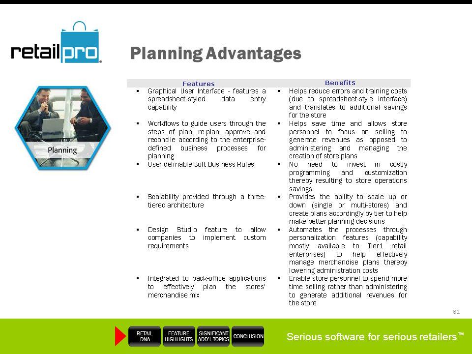 Planning Advantages Slide Talking Points: