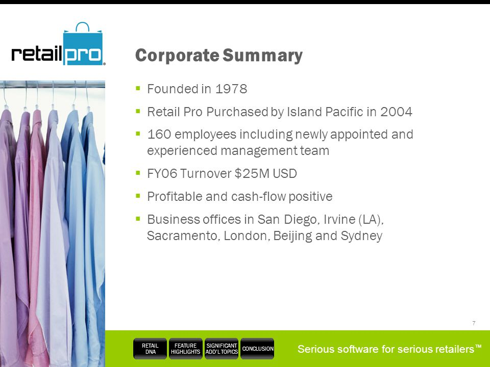 Corporate Summary Founded in 1978