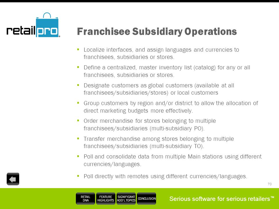 Franchisee Subsidiary Operations
