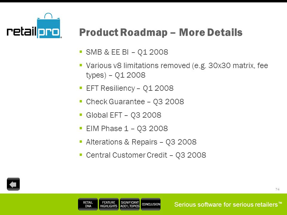 Product Roadmap – More Details