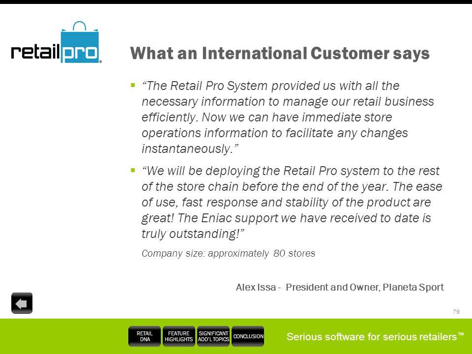 What an International Customer says