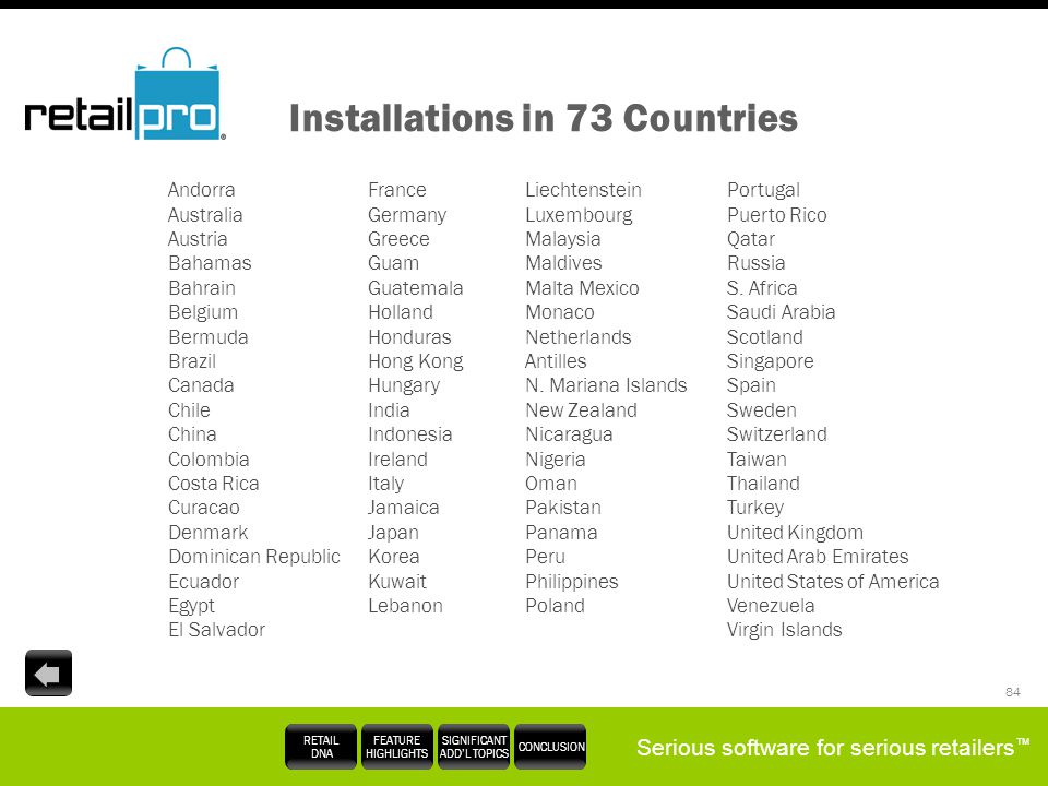 Installations in 73 Countries