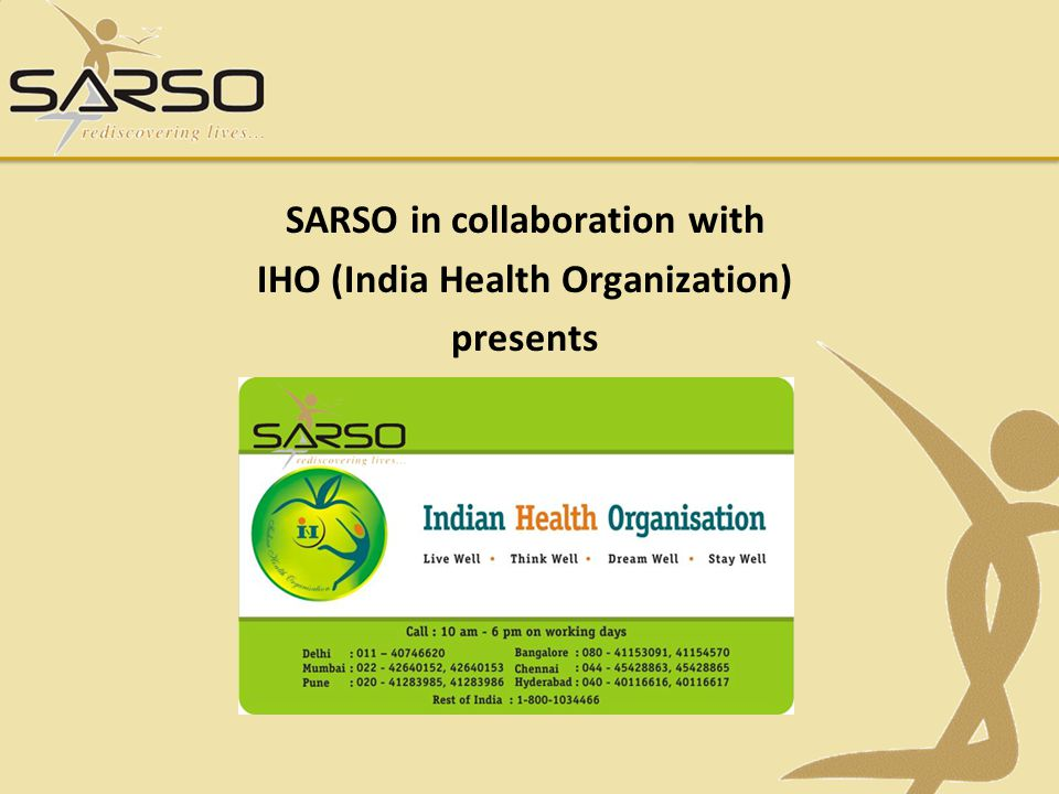 SARSO in collaboration with IHO (India Health Organization) presents