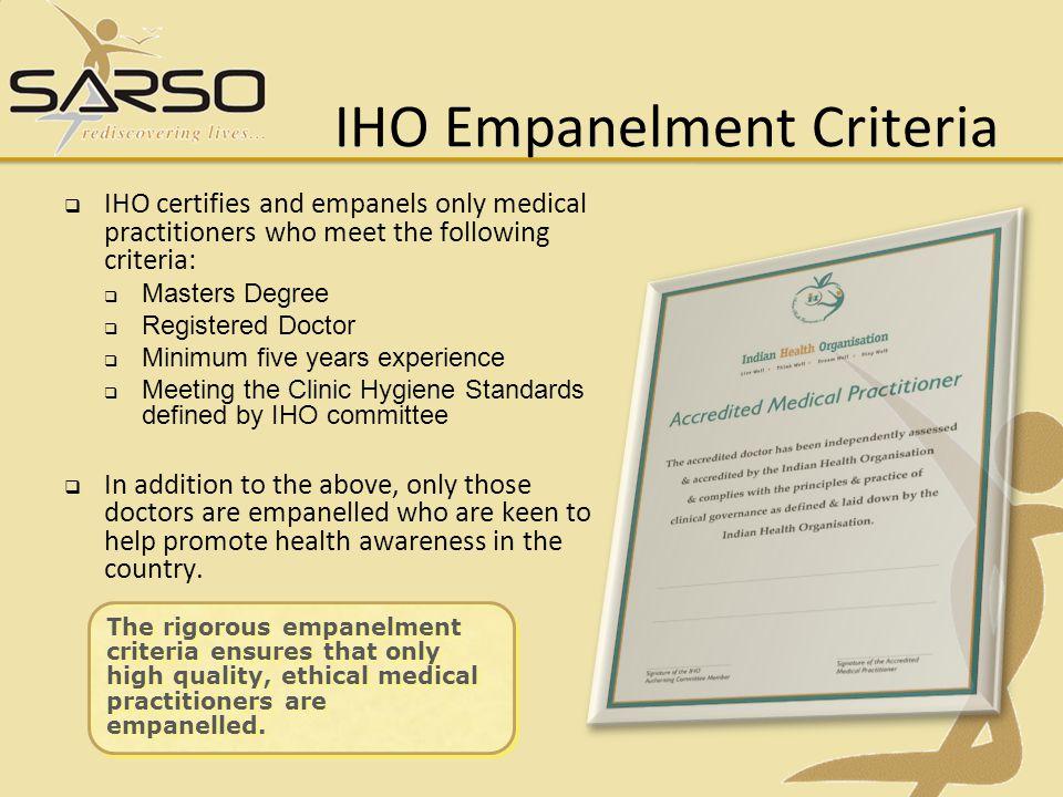 IHO Empanelment Criteria