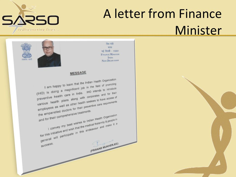 A letter from Finance Minister