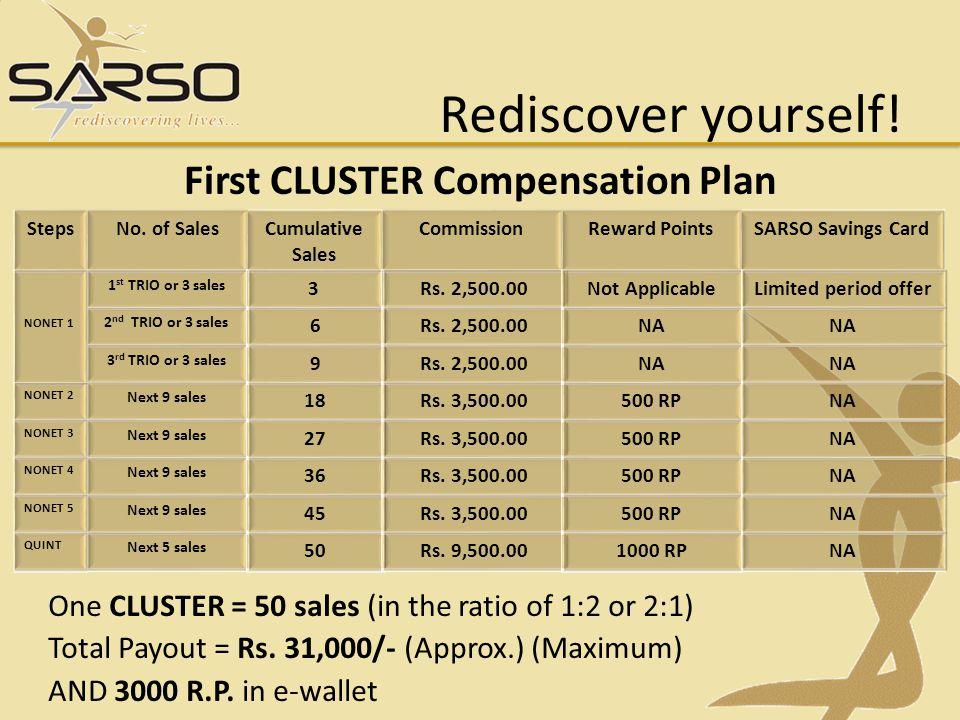 First CLUSTER Compensation Plan