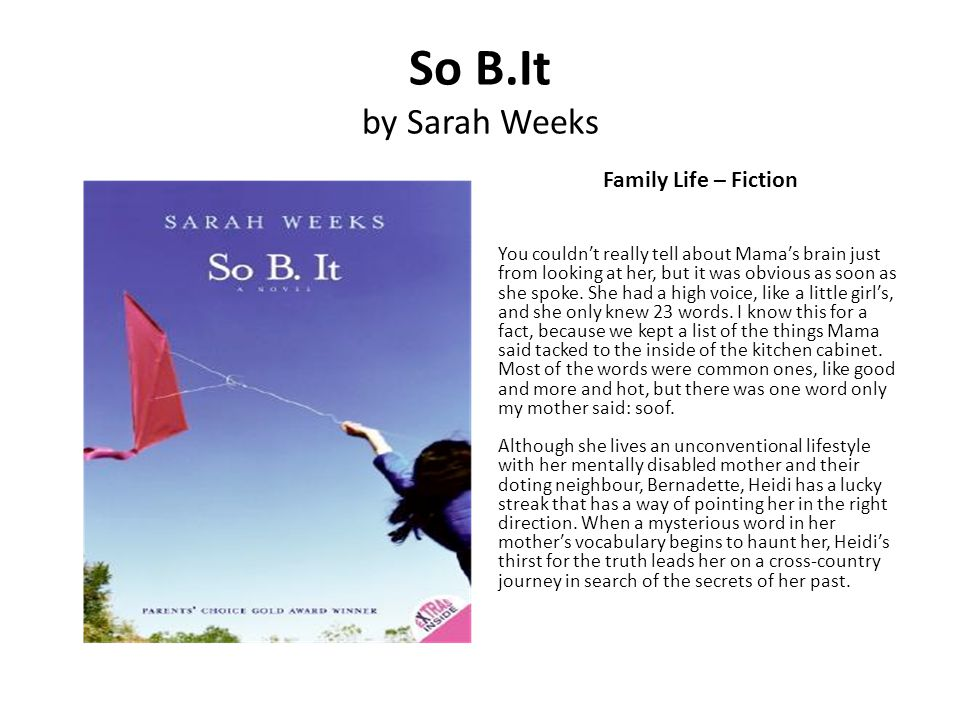 So B.It by Sarah Weeks Family Life – Fiction