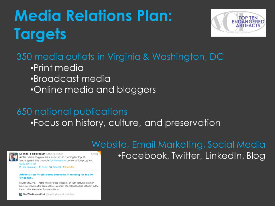 Media Relations Plan: Targets