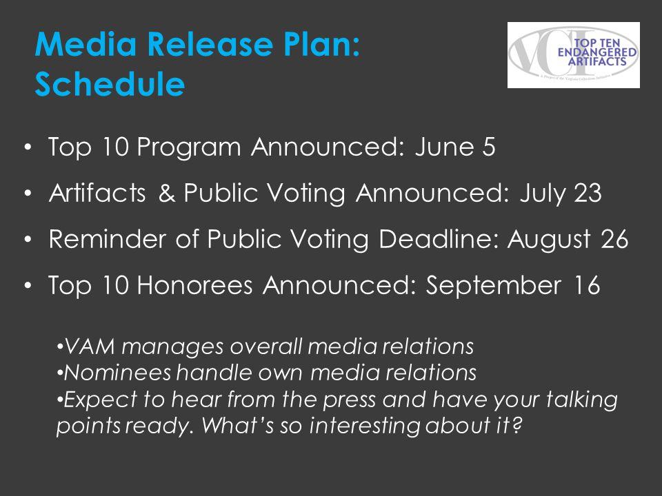 Media Release Plan: Schedule Top 10 Program Announced: June 5