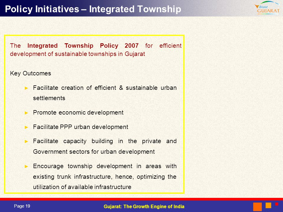 Policy Initiatives – Integrated Township