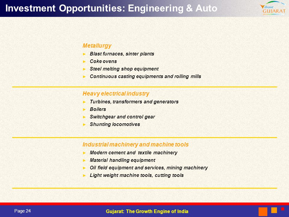 Investment Opportunities: Engineering & Auto