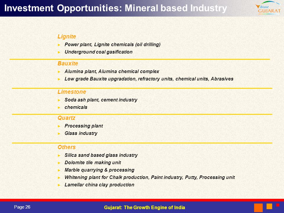 Investment Opportunities: Mineral based Industry