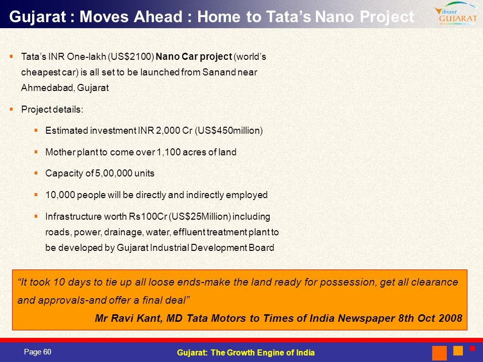 Gujarat : Moves Ahead : Home to Tata's Nano Project