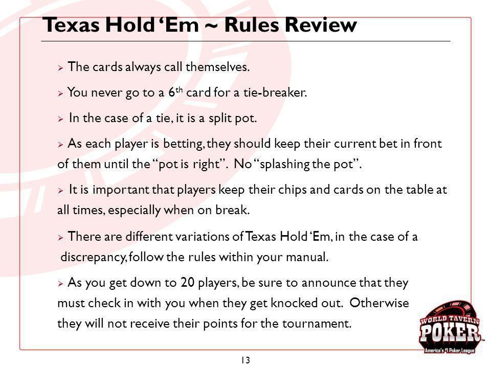 Texas Hold 'Em ~ Rules Review