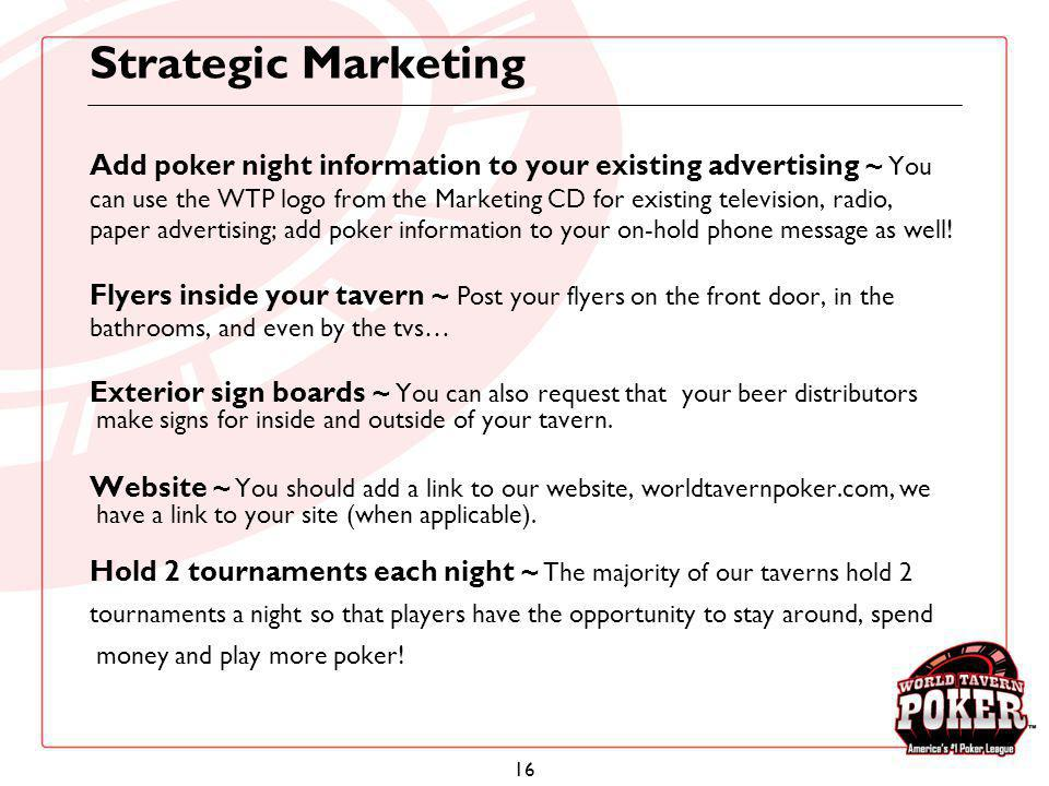 Strategic Marketing Add poker night information to your existing advertising ~ You.