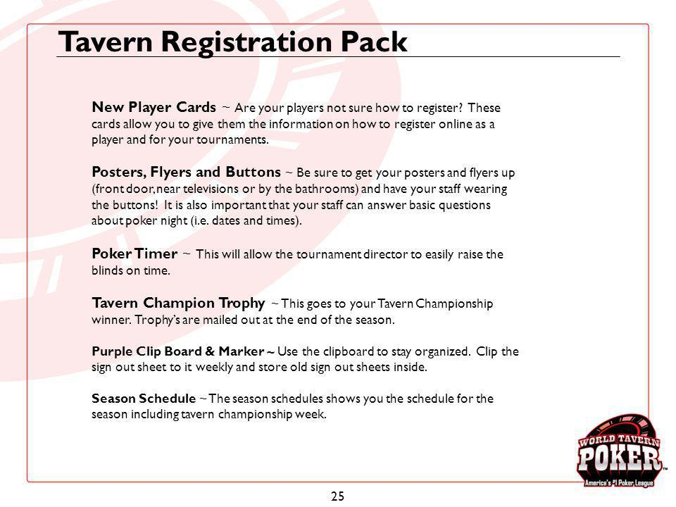 Tavern Registration Pack