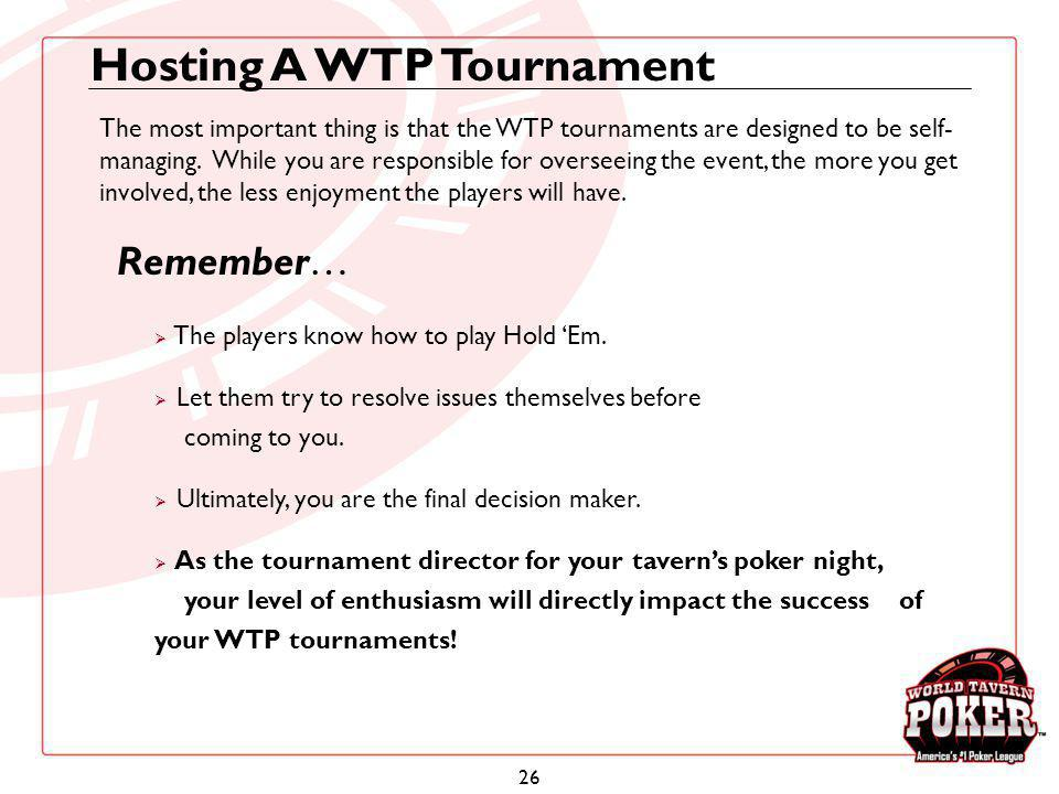 Hosting A WTP Tournament