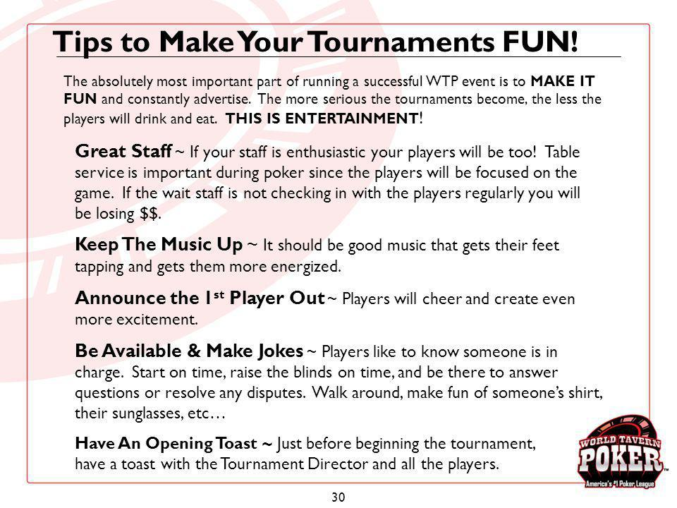 Tips to Make Your Tournaments FUN!