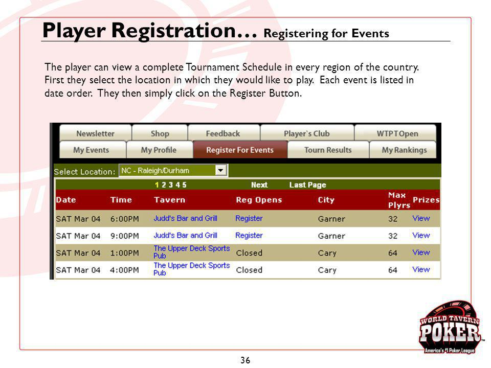 Player Registration… Registering for Events