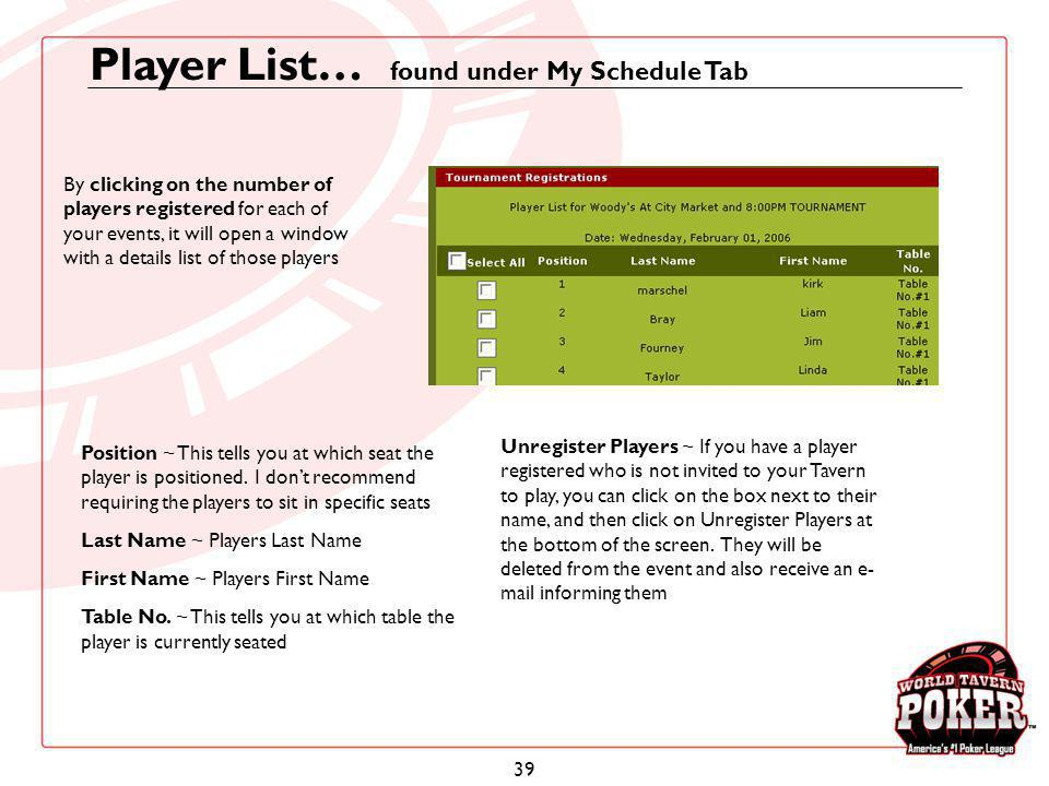 Player List… found under My Schedule Tab